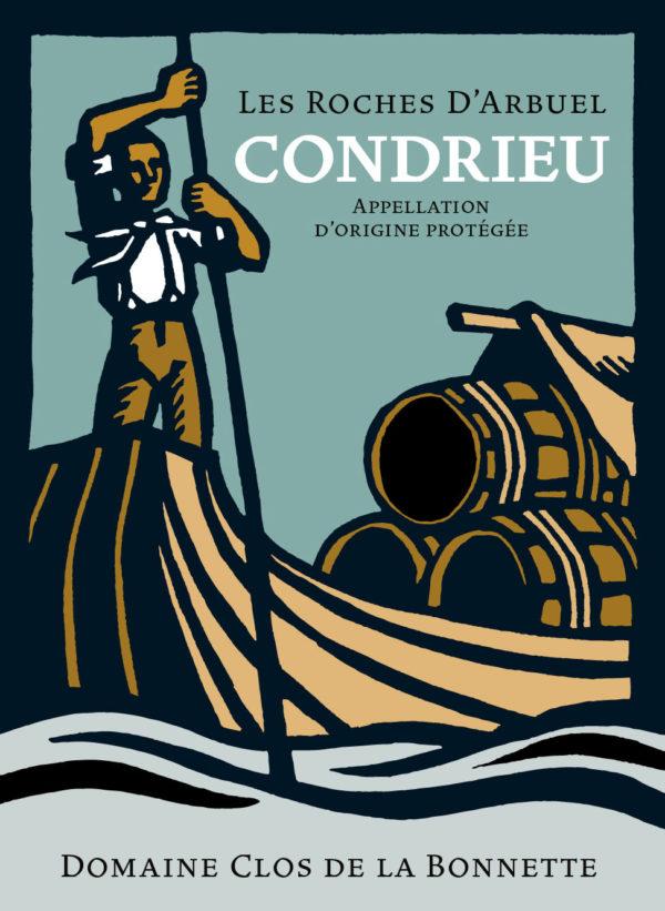 L'étiquette du Condrieu Roches D'Arbuel illustrée par Catherine Chion