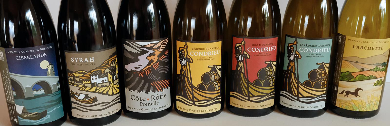 Photographie de la gamme des vins du Clos de la Bonnette